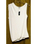NEW EXPRESS $35 WHITE ASYMMETRIC DRAPED LINED SLEEVELESS DRESSY TOP BLOU... - $12.99