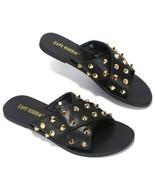 Cape Robbin Black Gold Studded Cross Detail Slip on Flat Sandal Shoe Siz... - $26.97