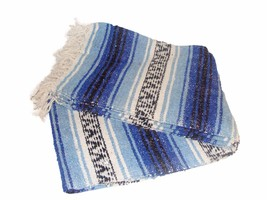 #11 Hot Blue Mexican Falsa Blanket Beach Picnic Yoga Mat Bed Throw Mexic... - $21.17 CAD