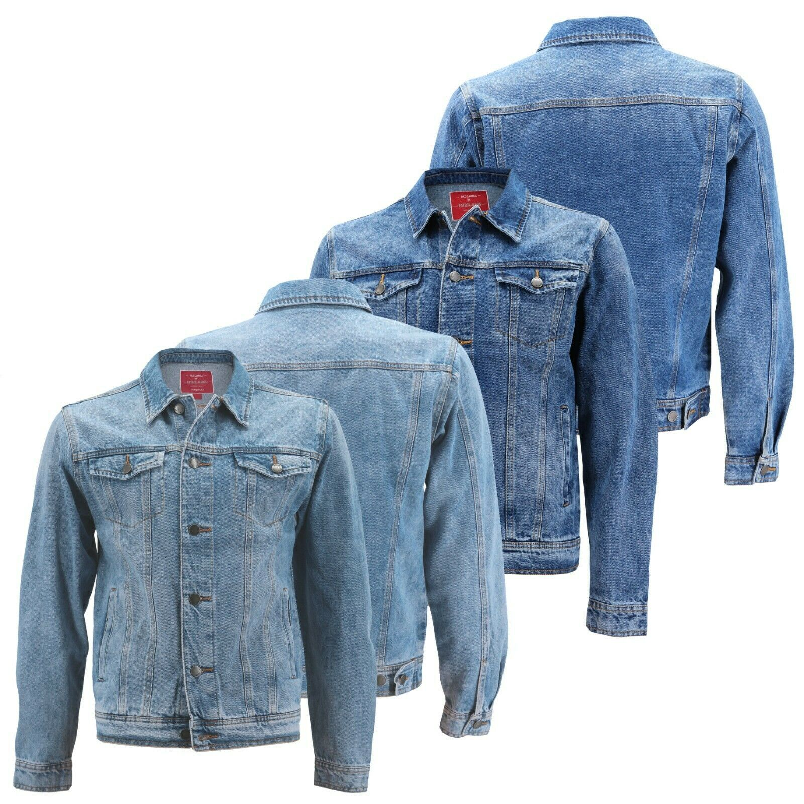 Red Label Men's Premium Casual Faded Denim Jean Button Up Cotton Slim Fit Jacket