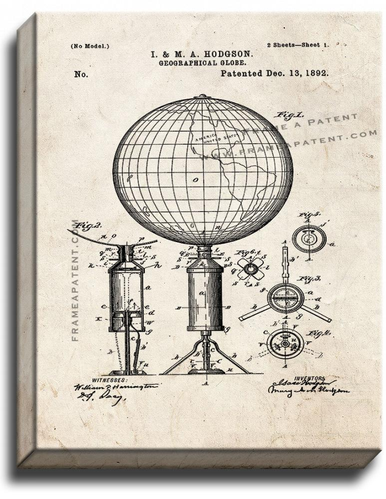 Primary image for Geographical Globe Patent Print Old Look on Canvas