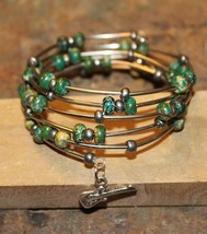 Handcrafted Green Turquoise Semi Precious Stones Memory Wire Bracelet - $36.99