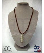"Clear Quartz Crystal Point Silver Spiral Cage Brown Cord 18.5"" - Made In... - $24.98"