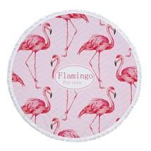 Flamingo Flowers Print 150cm Round Beach Towel With Tassels Microfiber P... - $49.99