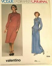 Vogue Designer Original Valentino Sewing Pattern 1358 Dress Vintage 1970... - $25.49