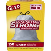 Glad 13-gal. Tall Kitchen Drawstring Plastic Trash Bags, 150 ct. - White... - $23.99