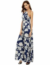 Womens Sleeveless Halter Neck Dress Vintage Floral Print Maxi Navy XL runs Small - $17.75