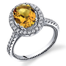 Women's Sterling Silver Citrine Oval Halo Ring with Milgrain Finish - $99.99
