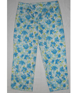 Ladies WORTHINGTON STRETCH Capris Crop Pants White Blue Size 14 Preowned - $14.80