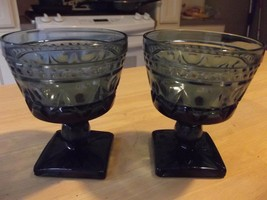 COLONY GLASS PARK LANE blue juice water GOBLETS 2 mid century 1960's win... - $9.49