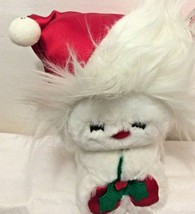 "Dakin Stuffed Plush Toy Puppy Santa Hat Christmas Rattle in Hat 1984 Gift Tag 8"" - $9.89"