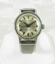 Vtg Timex Electric Ladies Watch Silver Round Face England Mesh Band PART... - $19.79