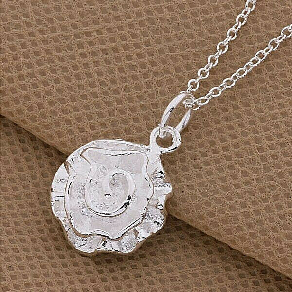 Primary image for Rose Pendant Necklace 925 Sterling Silver NEW