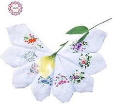 Womens Embroidered Floral Cotton Lace Handkerchiefs White Hankies Pack ... - $18.23