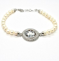 925 silver bangle with pearls freshwater Cameo Cameo Cubic Zirconium image 1