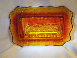 Vintage red yellow Amberina glass tray of Last ... - $14.95