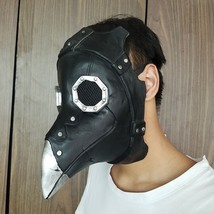 Steampunk Mask Plague Doctor Crow Bird Long Nose Black Leather Horror Co... - £20.87 GBP