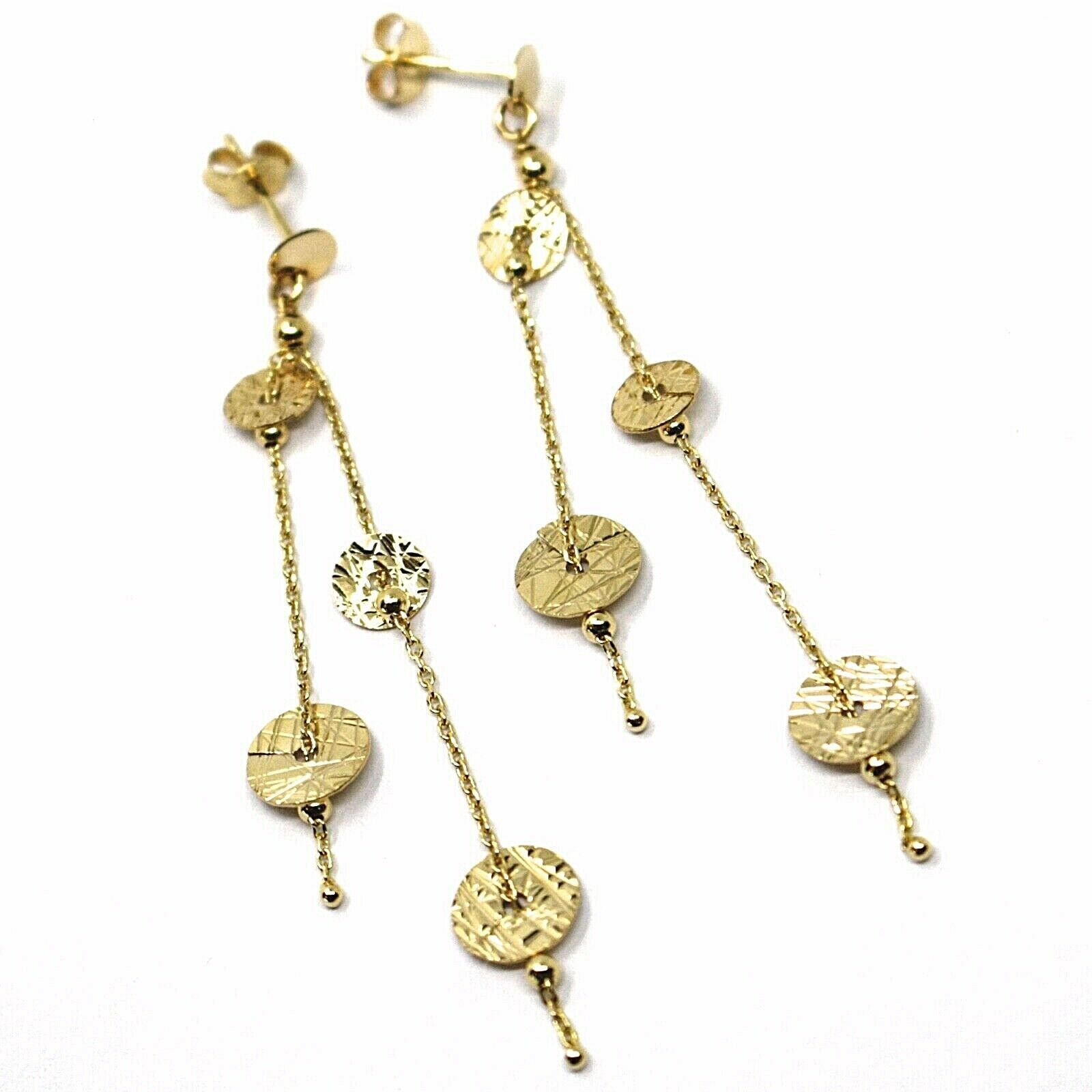 18K YELLOW GOLD PENDANT EARRINGS, DOUBLE WIRES WITH WORKED DISCS 6cm 2.4 INCHES