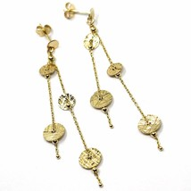 18K YELLOW GOLD PENDANT EARRINGS, DOUBLE WIRES WITH WORKED DISCS 6cm 2.4 INCHES  image 1