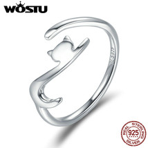 Sterling Silver Sticky Cat Long Tail Finger Ring Women Adjustable Jewelr... - $12.96