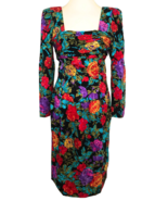 80s Vtg 100% Silk Maggy London Floral Ruched Wiggle Bombshell Cocktail D... - $140.00