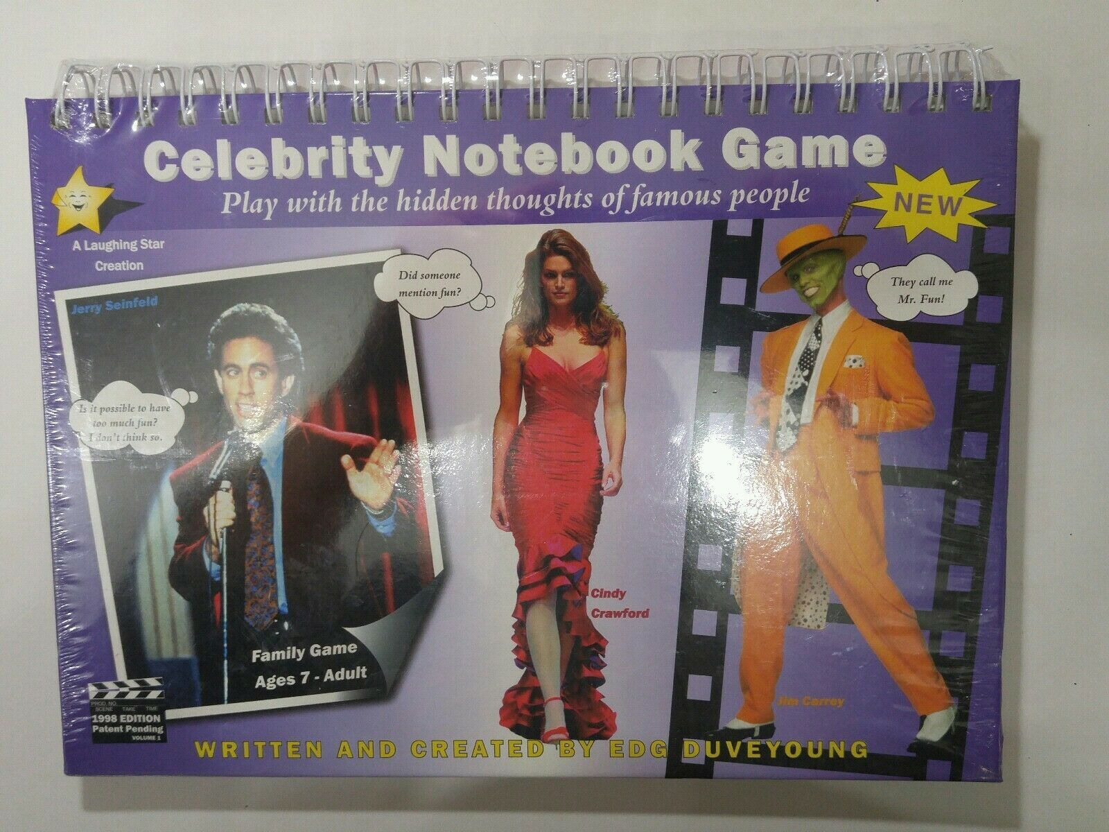 Primary image for Celebrity Notebook Game spiral bound Jerry Seinfeld Cindy Crawford Jim Carrey