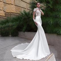 New Sexy Long Sleeve Lace Illusion High Neck Mermaid Wedding Dress