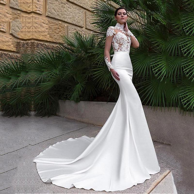 Vestido de noiva illusion high neck mermaid wedding dresses 2019 long sleeves wedding gowns lace