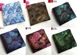 Silver Blue Brown Purple Brown Green Paisley Pocket Square Handkerchief - $6.71