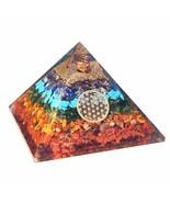 Real Crystal Seven Chakra Orgone Pyramid - 7 Chakra Orgonite Pyramid Ene... - $107.32