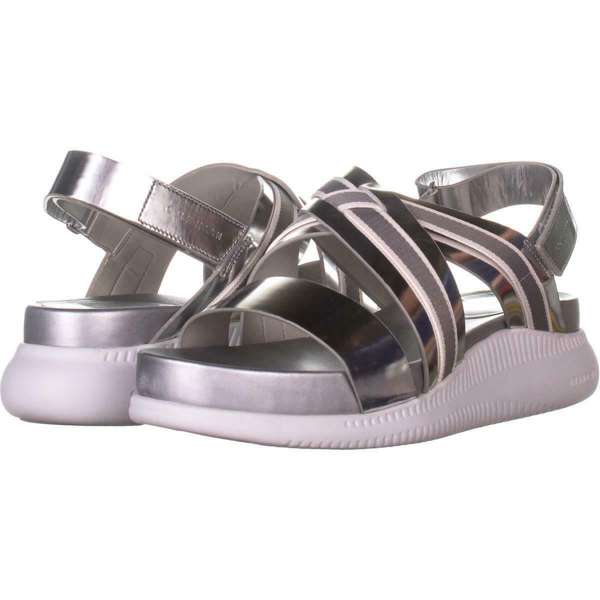 Cole Haan 2 Zerogrand Criss Cross Sandals 703, Argento, 10.5 US