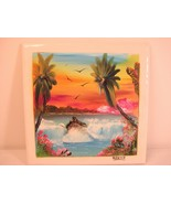 Agua Azul Waterfall Mexico Oil Painting on Ceramic Tile - Signed, Dated ... - $11.71