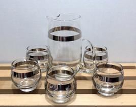 VTG Roly Poly Silver Band Glasses and Pitcher MCM Bar Set Dorothy Thorpe... - $49.99