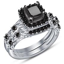 Princess Cut Black CZ 14k White Gold Plated 925 Silver Bridal Wedding Ring Set - $92.30