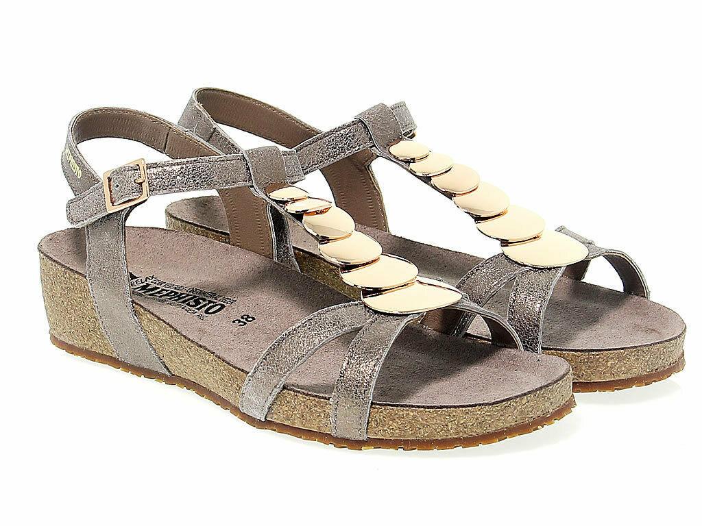 Sandalia plana MEPHISTO IRMA P de gamuza taupe - Zapatos Mujer