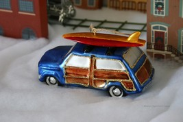 Pottery Barn Woody Car With Surfboard -NIB- Have A Real Cool Christmas, DADDY-O! - $24.95