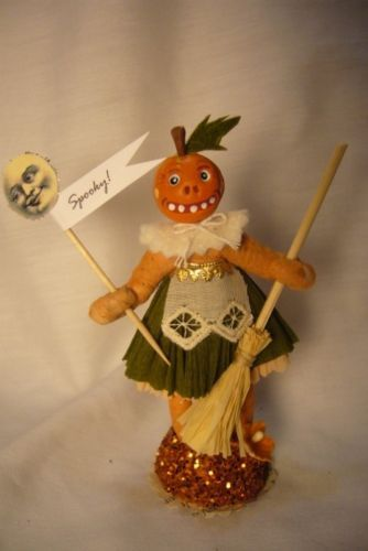 Vintage Inspired Spun Cotton Pumpkin Girl  Halloween