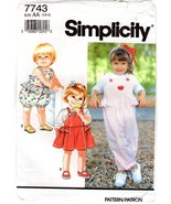 Simplicity 7743 Toddlers' Child's Overalls or Jumper & Knit Top Pattern ... - $8.47