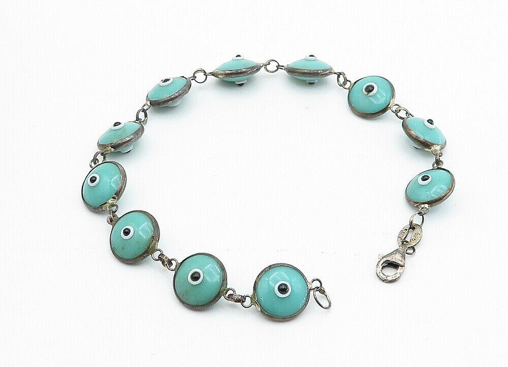 925 Sterling Silver - Vintage Turquoise Googly Eye Link Chain Bracelet - B6070 image 2