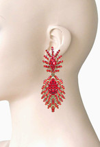"""3"""" Long Statement Clip On Earrings Vivid Red Rhinestones Drag Queen Pageant - $18.95"""