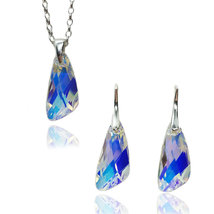 Jewelry set - silver necklace and earrings with Swarovski® Wing crystals, Luxury - $79.80