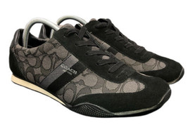 COACH Kelson Outline Signature Shoes Black Smoke Suede Womens 10 B Fast Ship - $58.79