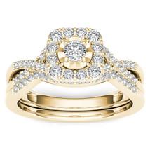 IGI Certified 10k Yellow Gold 0.40 Ct Diamond Halo Engagement Ring Set - $424.99