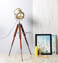 NauticalMart Designer Wood Brass Finish Tripod Floor Lamp with Base - $187.11