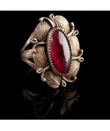Vintage sterling signed Ring / E. Harve Eerie pink stone - indian feathe... - $195.00