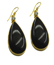 Black Gold Plated Glass fine-looking Black Onyx freely Earring AU gift - $8.33