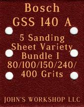 Bosch GSS 140 A - 80/100/150/240/400 Grits - 5 Sandpaper Variety Bundle I - $7.53