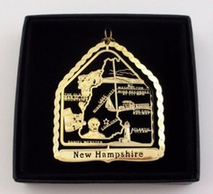 New Hampshire State Landmarks Brass Ornament Black Leatherette Gift Box - $13.95