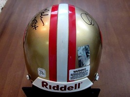 JOE MONTANA DWIGHT CLARK THE CATCH SF 49'ERS SIGNED AUTO MINI RIDDELL HE... - $395.99