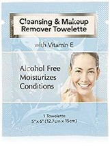Cleansing and Makeup Remover Wipes with Vitamin E, 45 Pack in Organza Bag